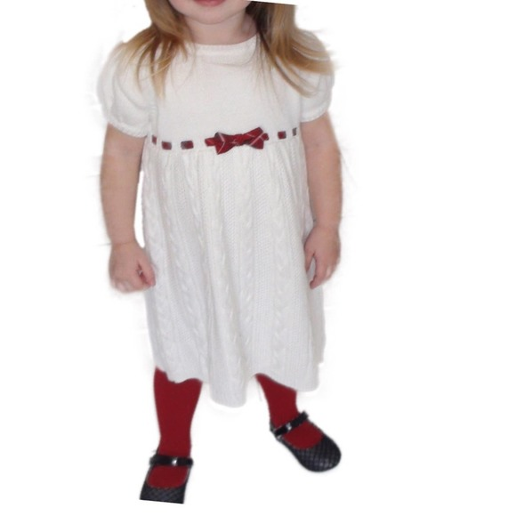 Gymboree White Sweater Dress with Red Ribbon 2T